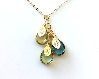 Birthstone Necklace, Initial Birthstone Necklace, other's Day Gift Necklace for Mom, Mother Day Gift, Mom Necklace, Mothers Necklace,