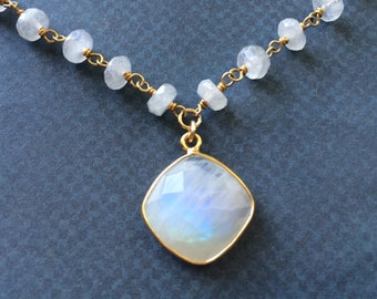 Moonstone Necklace, Faceted Moonstone Pendant  Chain Necklace in Gold