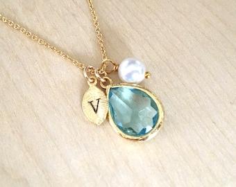 Aquamarine Necklace, March Birthstone Necklace, Leaf Initial jewelry, March Birthstone Jewlery, Aquamarine Birthday Necklace