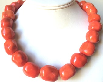 Orange Coral Necklace, Large Coral Necklace, Beach Wedding Jewelry