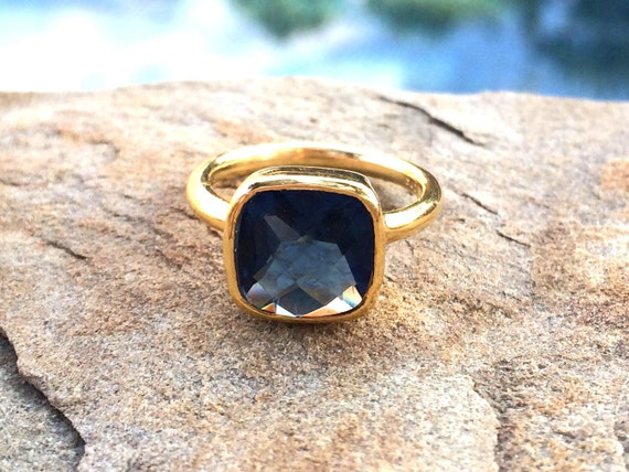 Sapphire Birthstone Ring September Birthstone 25/% off Sapphire Ring Stackable Cushion Cut Ring Dark Blue Square Gold Ring