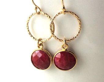 Ruby Gold Hammered Earrings, Faceted Round Ruby, Gold Filled Ring and Wires, Delicate ruby in Gold Frames