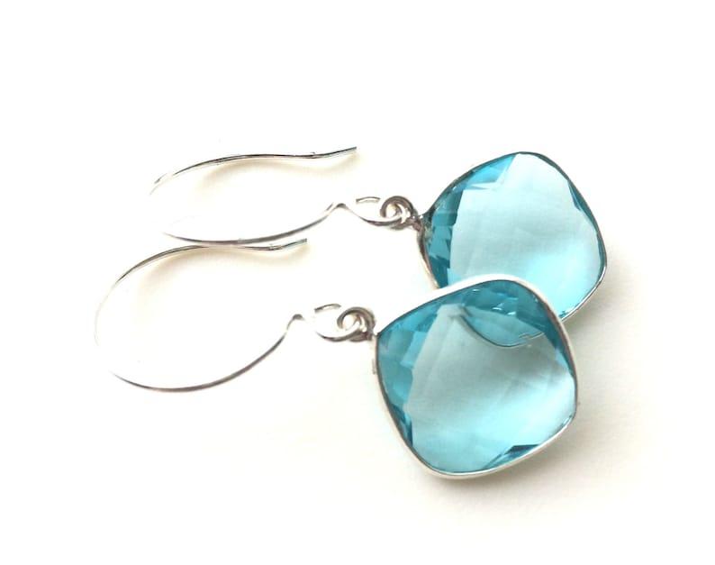 Sterling Silver Earring Wires Sterling Earrings Aquamarine Earrings Aquamarine Hydro Quartz