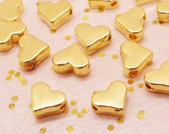 20pcs Heart Spacer Beads color: gold