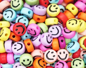 Smiley Face Pearls Arcryl Beads Black Colorful Mix | 7 mm | 10 pieces / 100 pieces