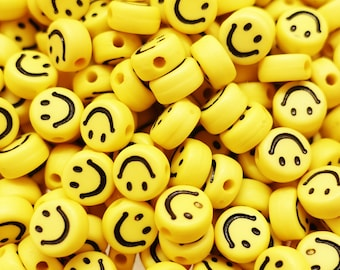 Smiley Face Beads Arcryl Beads Yellow Black | 7 mm | 10 pieces / 100 pieces