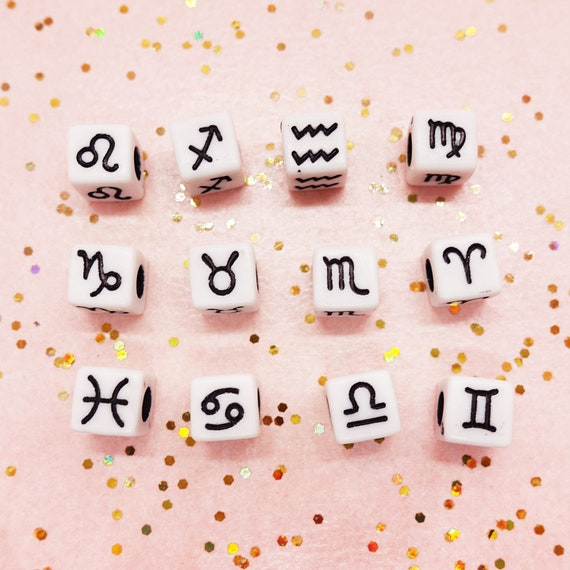 Zodiac Astrology Astronomy Acrylic Spacer Beads Dice Mixed Pattern 7mm