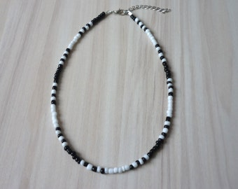 Psychedelic Black and White  Beaded Necklace