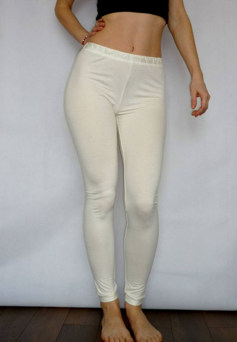 36e43f8091ef4 Off White / Cream Yoga Leggings High Waist Pants Wide Band | Etsy