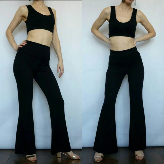 newest selection newest collection variety design Black Two Piece Set Outfit Flare Pants, Bell Bottom Trousers Sleeveless  Crop Top, High Waist Wide Band, Festival Pants, Bohemian Gypsy Beach