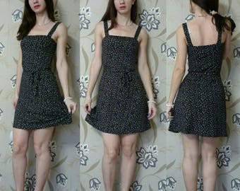 Floral Black Dress, Preppy Dress, Printed Jersey Minimal Dress, Retro Vintage Style, Above The Knee Sleeveless Strapes Dress