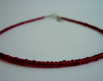 Burgundy Red Beaded Choker Necklace, Dainty Glass Seed Bead Necklace