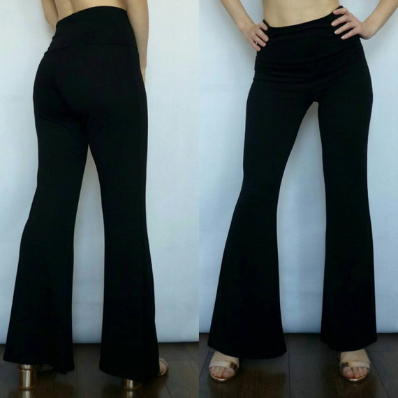 394528fe7 High Waist Bell Bottom Pants Black Solid Color Flare Pants | Etsy