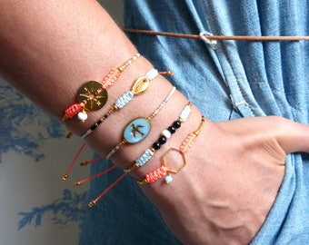 Friendship bracelets - Boho chic jewelry - Macrame with Miyuki Delica, cowrie, hexagon, compass, shell - Neon coral azure blue black gold