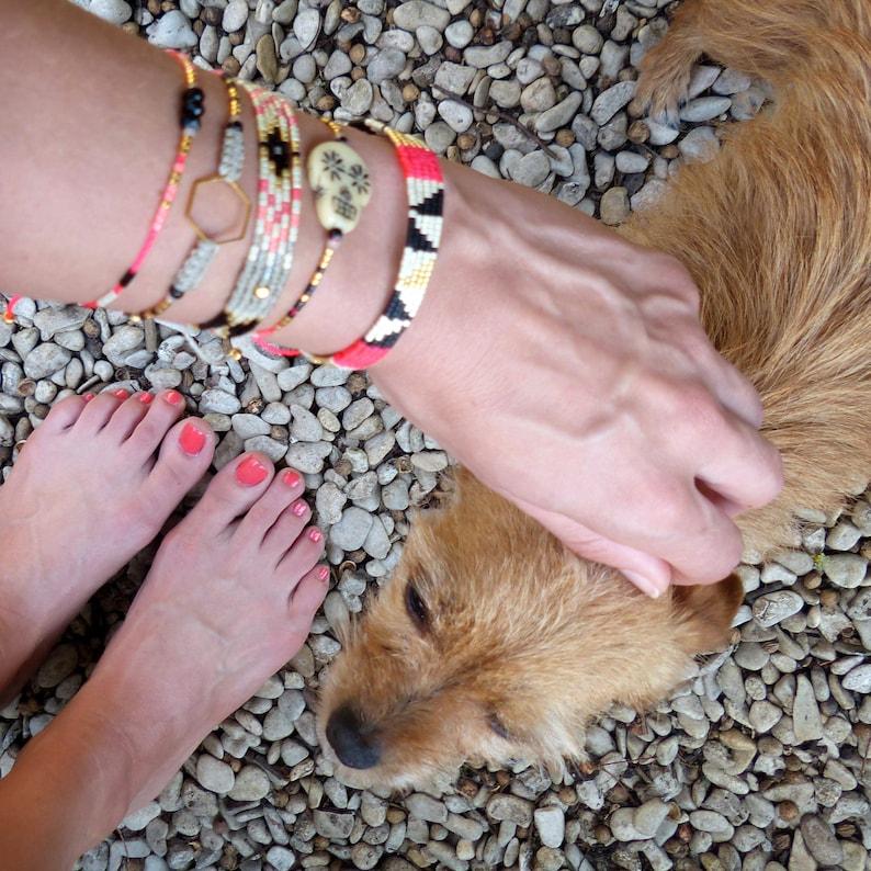 Macrame and miyuki beads Friendship bracelet Beige black gold neon and neon pink Hexagon or beads Boho chic jewelry Gift for her