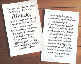 TYPOGRAPHIC POSTERS - *Large Format* Hand-drawn and original typographical posters of your favourite quote - Made To Order