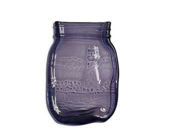 Mason Jar Spoon Rest in Royal Purple with Elegant Kiln-Carved Lighthouse Design - Spoon Rest - Butter Dish - Soap Dish