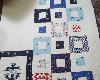 Baby Boy Nautical Quilt, personalized