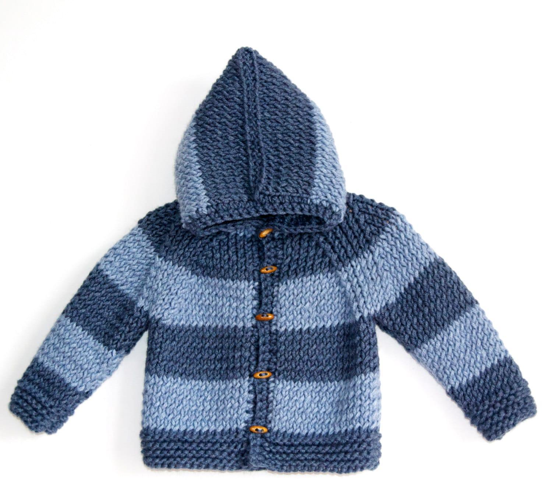 c12b1175c Hand Knitted Baby Boy Wool Hoodie Cardigan Jacket Chunky
