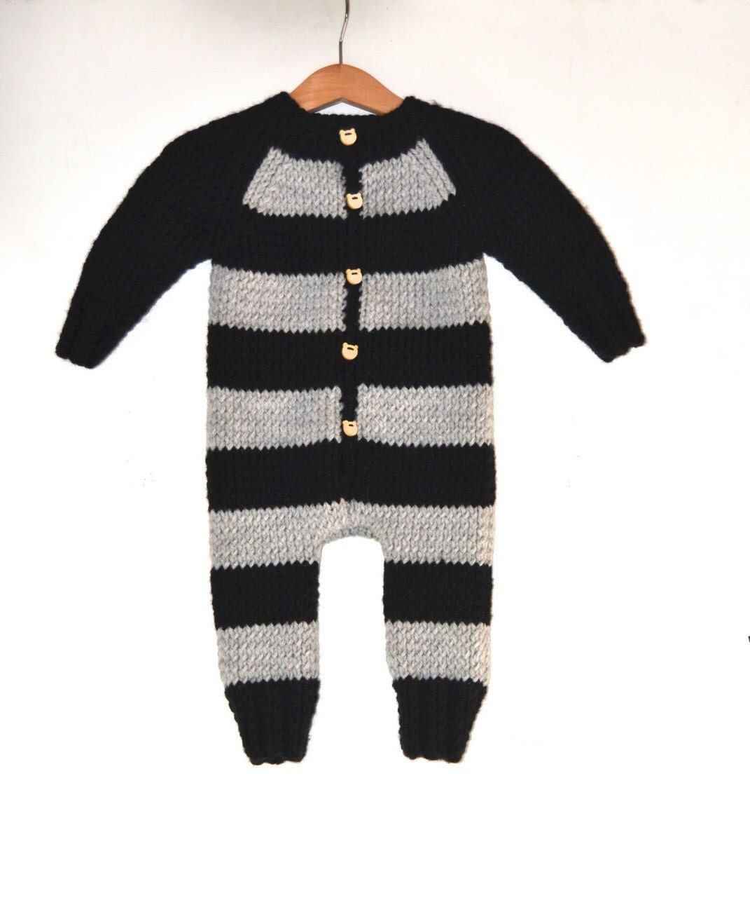 Hand Knitted Wool Baby Boy Romper Bodysuit Black And Gray