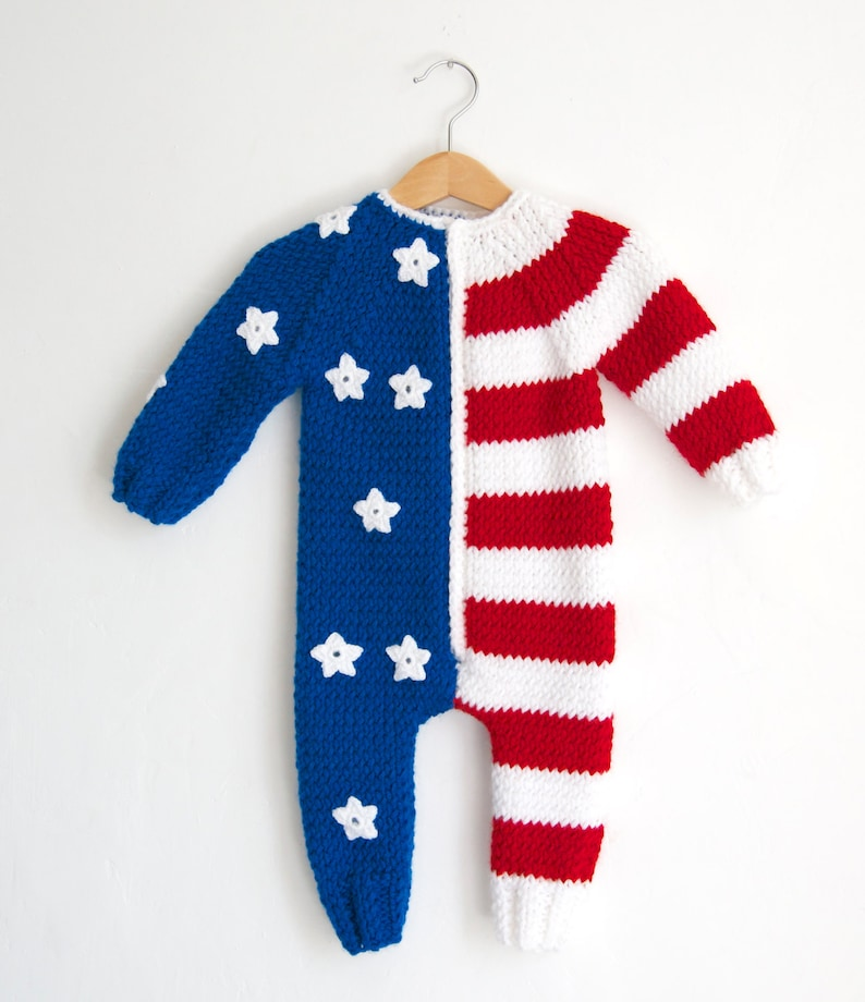 2b7b94b27 Hand Knitted Wool American USA Flag Baby RomperUSA 4th of