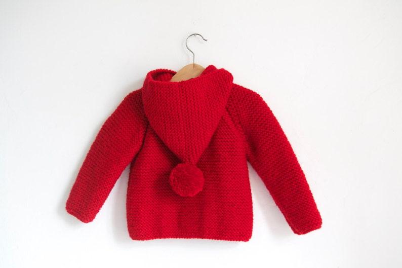 Duffel Coat Chunky Raglan with Pom Pom Hand Knitted Baby Wool Hoodie CardiganJacket
