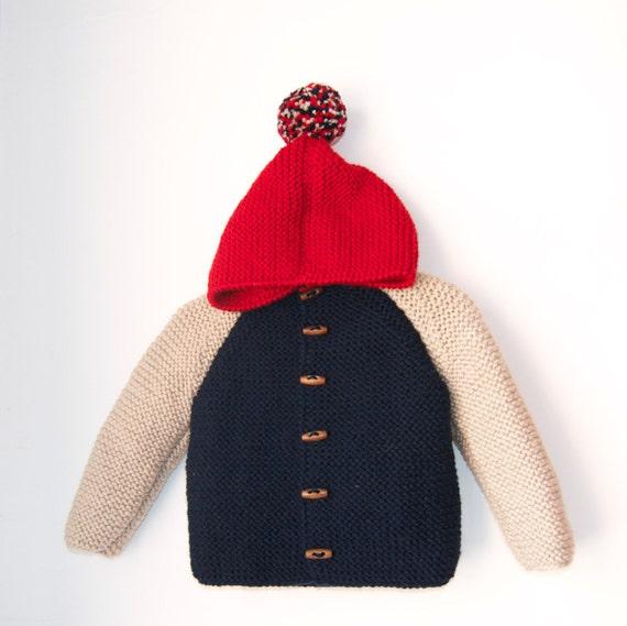 Chunky Raglan with Pom Pom Hand Knitted Baby Wool Hoodie CardiganJacket Duffel Coat