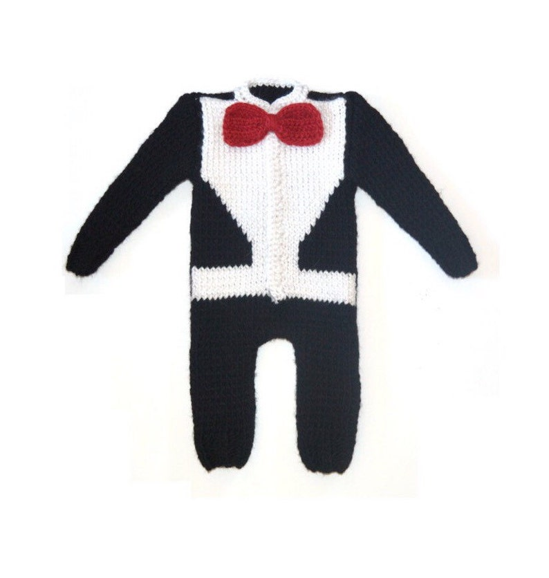 9cb729e72569 Hand Knitted Wool Baby Boy Tuxedo Romper with Red Bow-tie