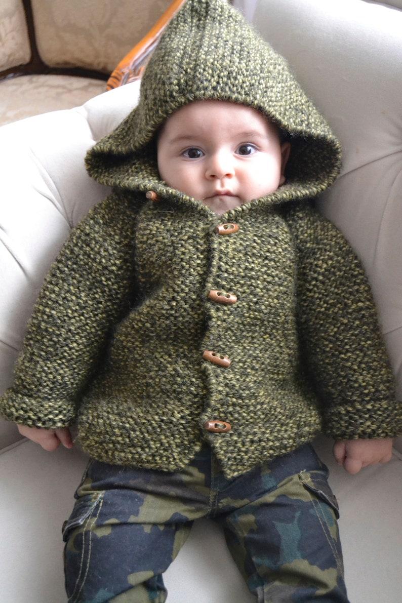 e48324c47 Hand Knitted Baby Boy %100 Wool Hoodie Cardigan Jacket