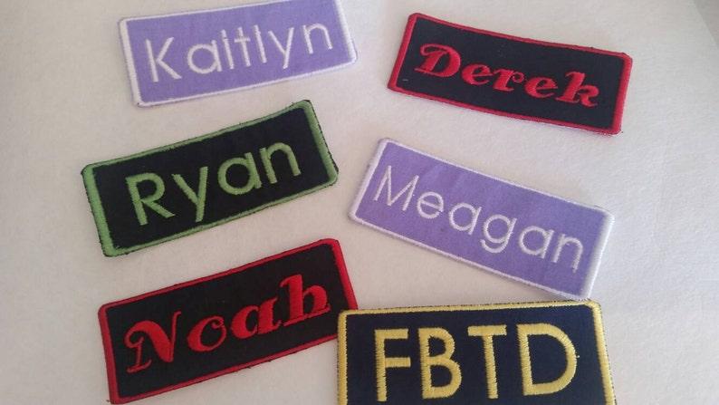 6de5e5b55de7 Custom Embroidered Name Patches 1 1/2 x 3 3/4 inches / Biker Tags / Iron On  / Name Tag / Bookbag Tag
