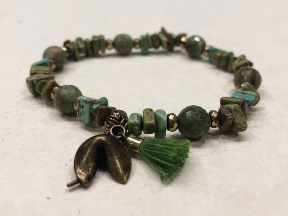 Green Stone - Fortune Cookie and Tassel Charm Bracelet