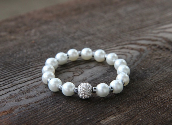 The Determined Bracelet - White Pearlized Beads with Silver Pave