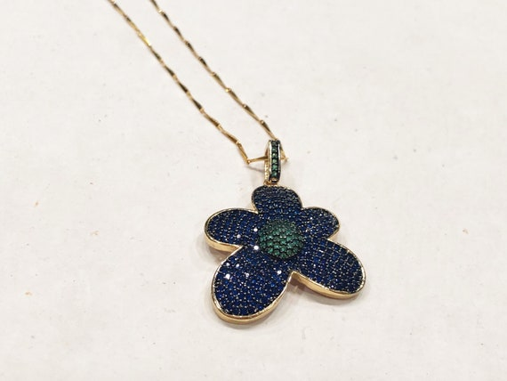 Blue and Green CZ Daisy Pendant