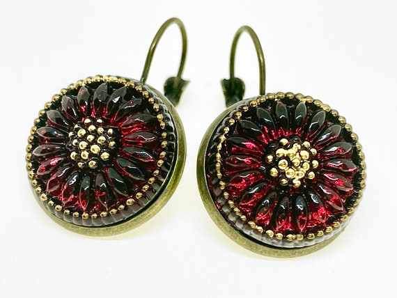 Red and Gold Daisy Czech Glass Button Earrings