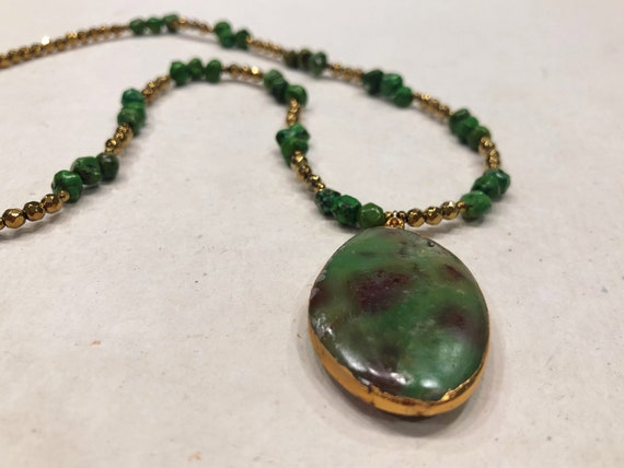 Gold Vermeil Dipped Green Turquoise and Hematite Necklace
