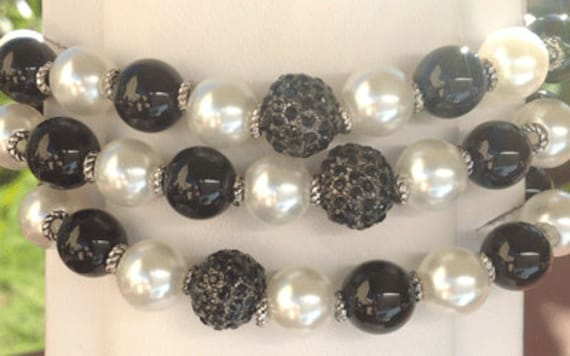 You Can Do It Bracelet - black and white faux pearls