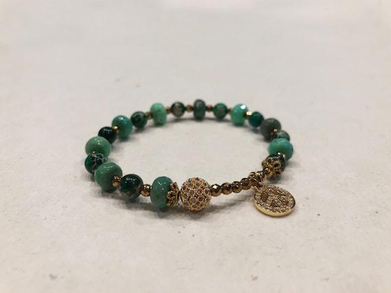 Green Stone - Peace Symbol Charm Bracelet