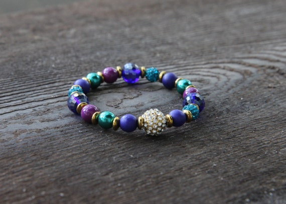 The Courage Bracelet - Purple Stone and Teal Crystal with Pave Bead