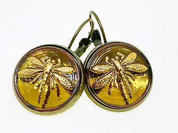 Amber Yellow Dragonfly Czech Glass Button Earrings