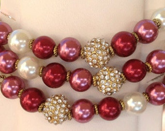 Beading Buddy Bracelet - Cherry, Raspberry and White with Pave beads