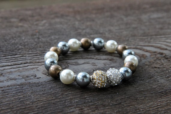 The Creative Bracelet - Bronze, Pearl and Platinum Colored Beads with Gold/Silver Pave