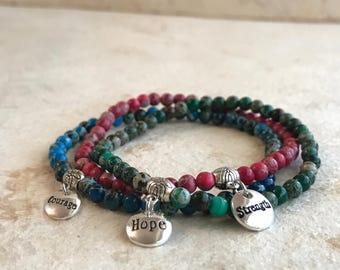Hope, Courage & Strength Trio Bracelet.