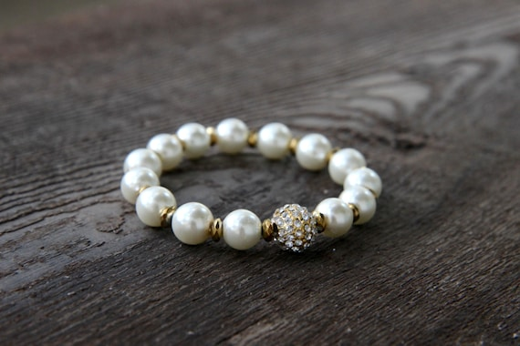 The Soulful Bracelet - White Pearlized Beads with Gold Pave
