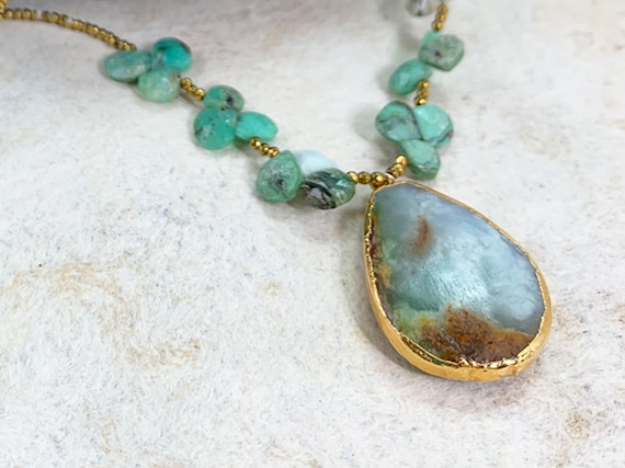 Vermeil Dipped Chrysoprase Pendant Necklace