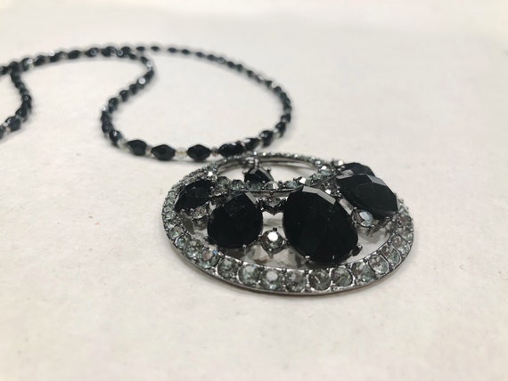 Vintage Jet Black Glass Pendant