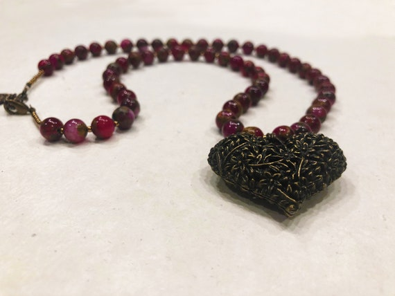 Ruby Quartz and Brass Heart Necklace