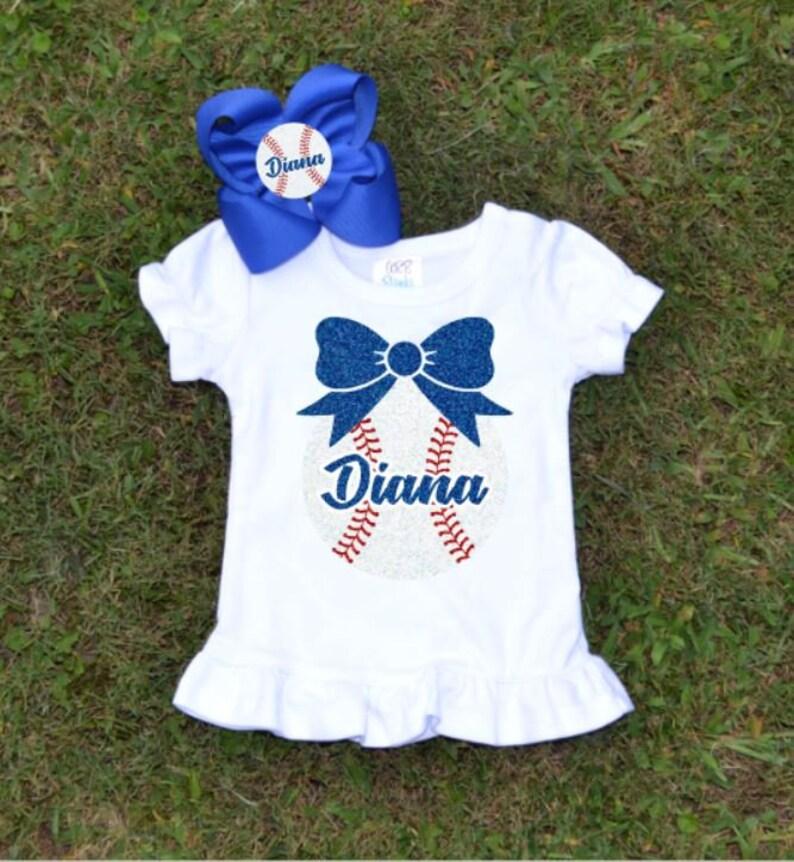 Outfit Blue Red Game Day Fan Shirt Girls Baseball Shirt Matching Glitter Feltie Hair Bows Glitter Base Ball Little Sister Ball Top