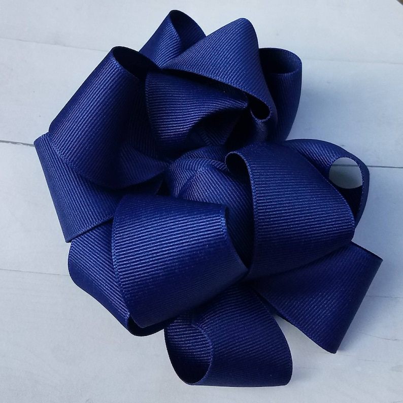 Navy Blue And Light Blue School Uniform Bows On clips