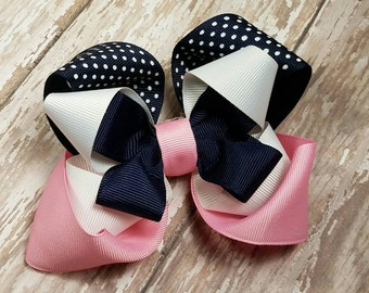Pink Navy and White OTT Hair Bow - Polka Dot Over the Top Hairbow -  Boutique  Hair Bows - Birthday to Everyday Hairbows - Blue Light Pink