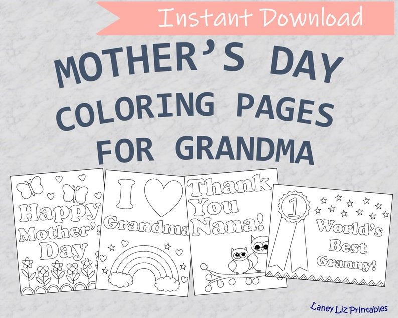 Mother/'s Day Coloring Sheets Printable Mother/'s Day Coloring Pages for Grandma